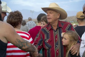 "Rancher Cliven Bundy greets supporters during a Bundy family ""Patriot Party"" near Bunkerville, Nevada"