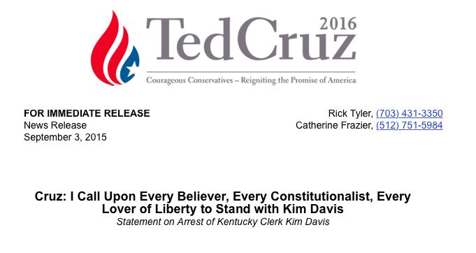 Ted Cruz Kim Davis