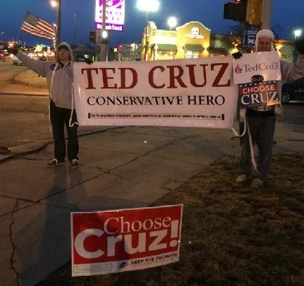 Ted Cruz Iowa Sign wave Night