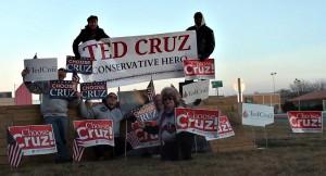 Ted Cruz sign wave Iowa 1-31-2016
