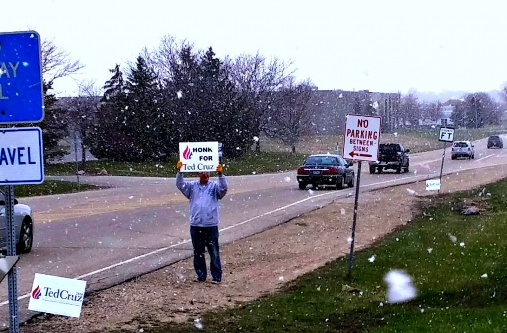 Ted Cruz Wisconsin Snowing Sign Wave